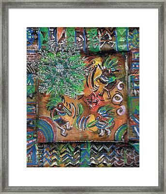 The Kokopelli Greenery Framed Print by Anne-Elizabeth Whiteway