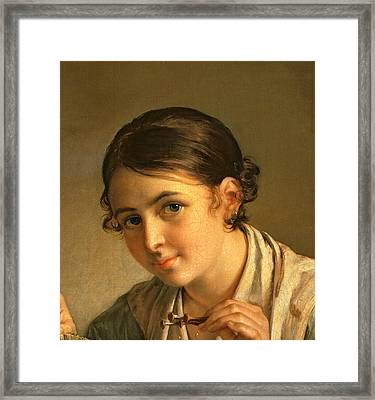 The Lacemaker Framed Print by Vasili Andreevich Tropinin