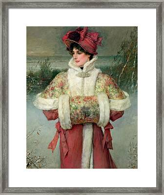 The Lady Of The Snows Framed Print by George Henry Boughton