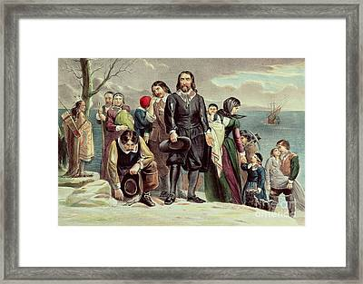The Landing Of The Pilgrims At Plymouth Framed Print by Currier and Ives