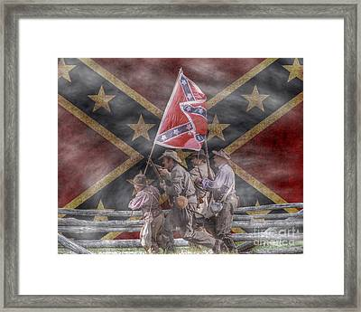 The Last Charge Confederate Flag Version Framed Print by Randy Steele