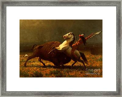 The Last Of The Buffalo Framed Print by Albert Bierstadt