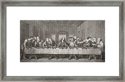The Last Supper After Leonardo Da Framed Print by Vintage Design Pics