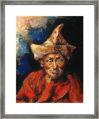 The Laughing Monk Framed Print by Ellen Dreibelbis
