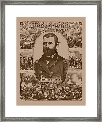 The Leader And His Battles - General Grant Framed Print by War Is Hell Store