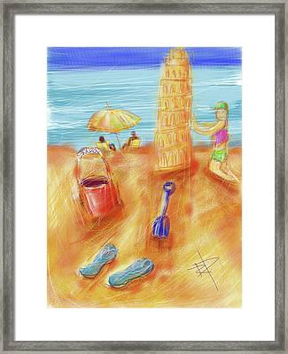 The Leaning Sand Castle Framed Print by Russell Pierce