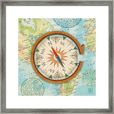 The Letter C For Compass Framed Print by Valerie Drake Lesiak