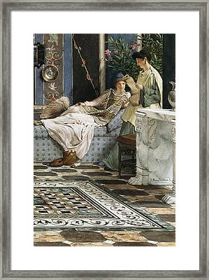 The Letter From An Absent One Framed Print by Sir Lawrence Alma-Tadema
