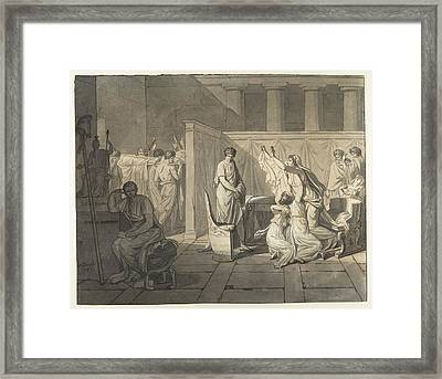 The Lictors Bringing Brutus The Bodies Of His Sons Framed Print by Jacques Louis