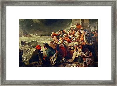 The Life Boat Going To The Rescue Framed Print by Thomas Brooks