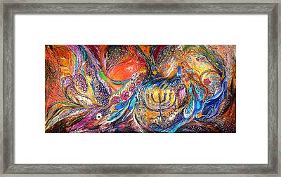 The Light Of Menorah Framed Print by Elena Kotliarker