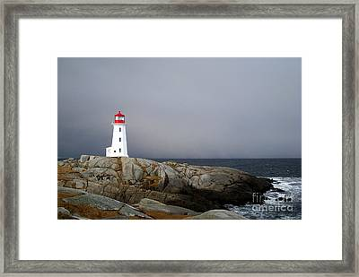 The Lighthouse At Peggys Cove Nova Scotia Framed Print by Shawna Mac