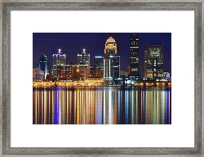 The Lights Of A Louisville Night Framed Print by Frozen in Time Fine Art Photography