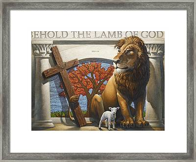 The Lion And The Lamb Framed Print by Larry Reinhart