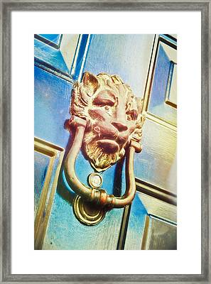 The Lion Is Guarding  Framed Print by Tom Gowanlock