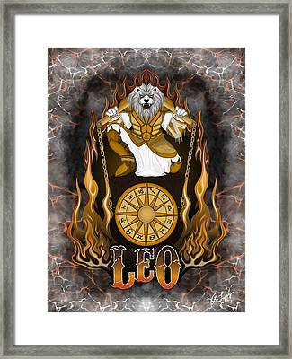 Framed Print featuring the drawing The Lion - Leo Spirit by Raphael Lopez