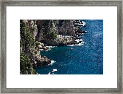 The Little Boat And The Cliff - Azure Waters Magic Of Capri Framed Print by Georgia Mizuleva