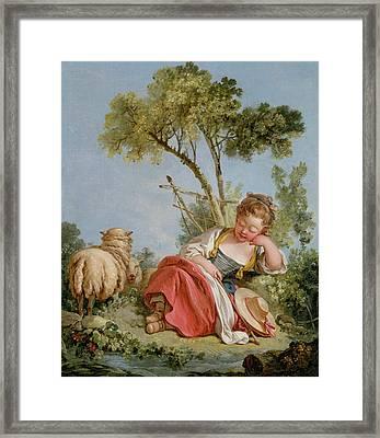 The Little Shepherdess Framed Print by Francois Boucher