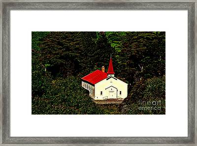 Red Steeple Red Roof White Church Near Sausalito California Framed Print by Michael Hoard