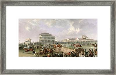 The Liverpool And National Steeplechase At Aintree Framed Print by William Tasker