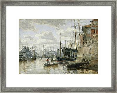 The Log Cabin At Hamburg Harbour Framed Print by Valentin Ruths