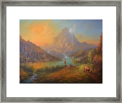 The Lonely Mountain Smaug Framed Print by Joe  Gilronan