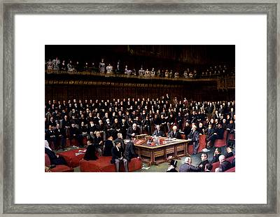 The Lord Chancellor About To Put The Question In The Debate About Home Rule In The House Of Lords Framed Print by English School