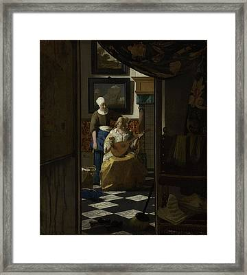 The Love Letter, 1669 Framed Print by Johannes Vermeer
