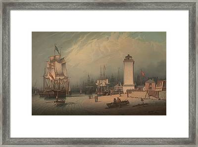 The Low Lighthouse North Shields Framed Print by Robert Salmon