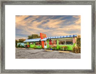 The Lucky Dog Diner At Sunset - 1 Framed Print by Frank J Benz