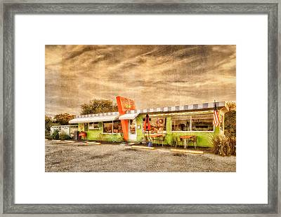 The Lucky Dog Diner At Sunset - 3 Framed Print by Frank J Benz