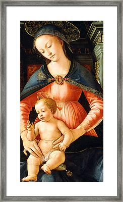The Madonna And Child Enthroned Framed Print by Italian School