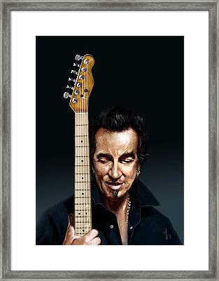 The Man And His Guitar Framed Print by Arie Van der Wijst