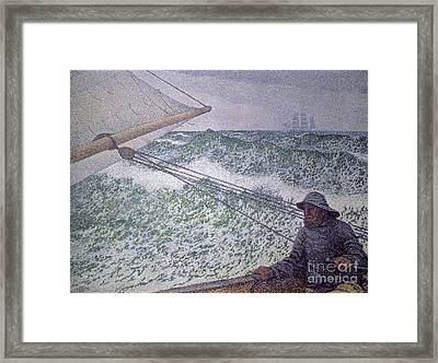 The Man At The Tiller Framed Print by Theo van Rysselberghe