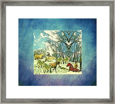 The Mares And Stallions In The Imaginary Winter Pasture Framed Print by Patricia Keller