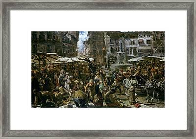 The Market Of Verona Framed Print by Adolph Friedrich Erdmann von Menzel