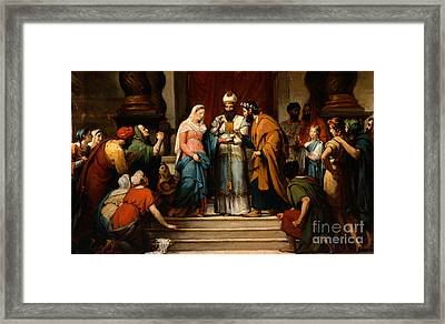 The Marriage Of The Virgin Framed Print by Jerome Martin Langlois