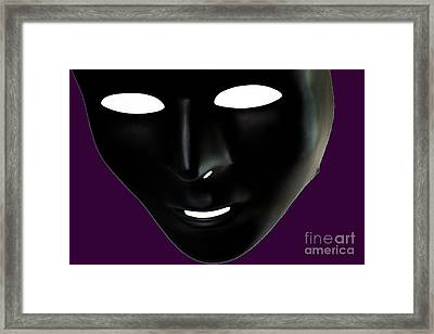 The Mask In Purple Framed Print by Reynaldo Brigantty