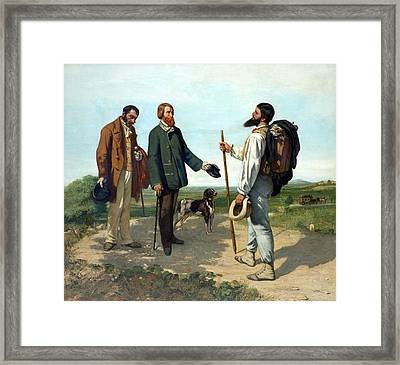 The Meeting Or Bonjour, Monsieur Courbet Framed Print by Gustave Courbet