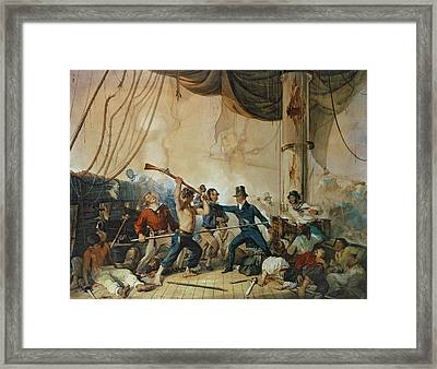 The Melee On Board The Chesapeake Framed Print by Anonymous