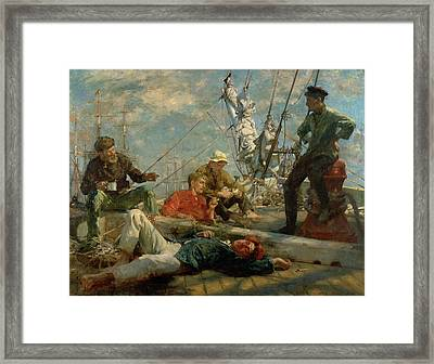 The Midday Rest Sailors Yarning Framed Print by Henry Scott Tuke