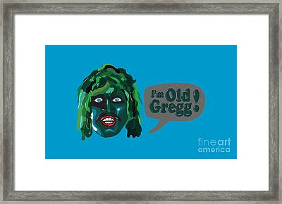 The Mighty Boosh Tv Series I'm Old Gregg Scaly Man Fish Bbc Comedy Framed Print by Paul Telling