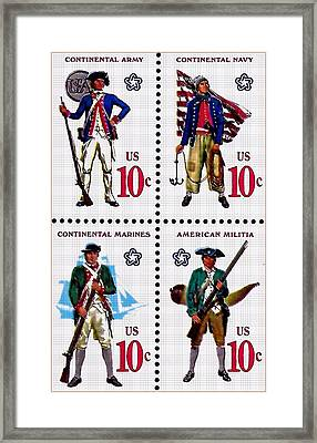 The Military Services Bicentennial Stamps Framed Print by Lanjee Chee
