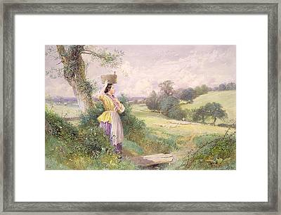 The Milkmaid Framed Print by Myles Birket Foster