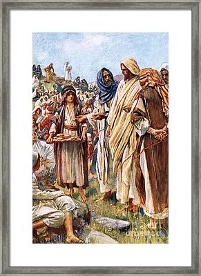 The Miracle Of The Loaves And Fishes Framed Print by Harold Copping