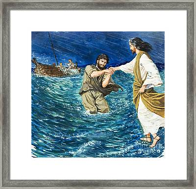 The Miracles Of Jesus Walking On Water  Framed Print by Clive Uptton