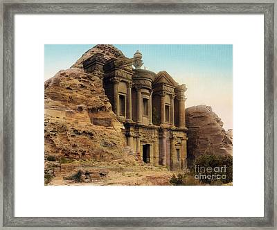 The Monastery Petra Framed Print by Celestial Images