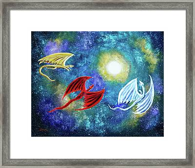 The Moon And Dragons Three Framed Print by Laura Iverson