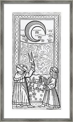 The Moon  Tarot Card Framed Print by Italian School