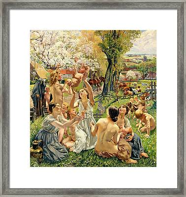 The Morning Framed Print by Leon Henri Marie Frederic